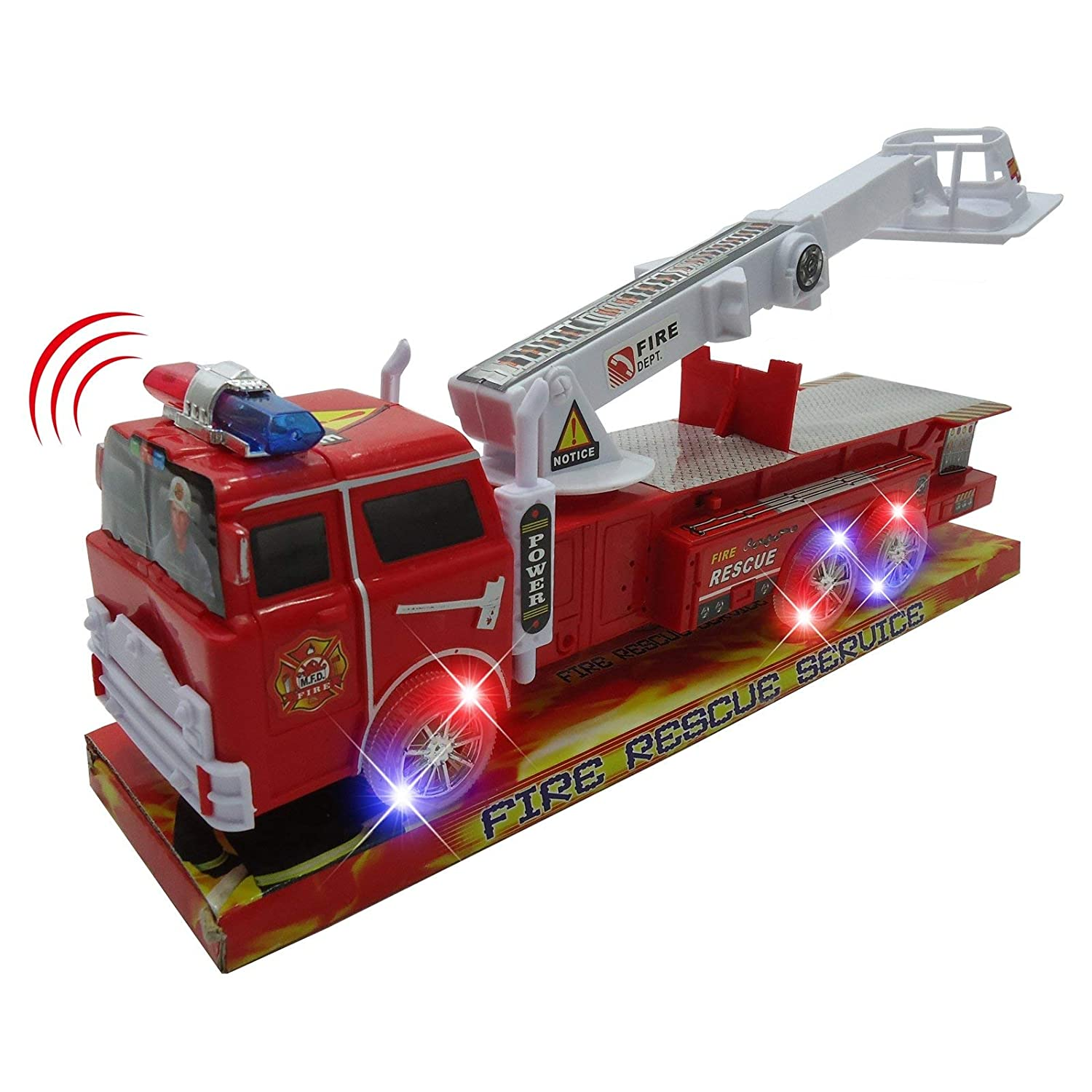 Kidplay Kids Light Up Fire Truck Rescueエンジンwithユーティリティベンチ14インチおもちゃ B078Z3CD2S