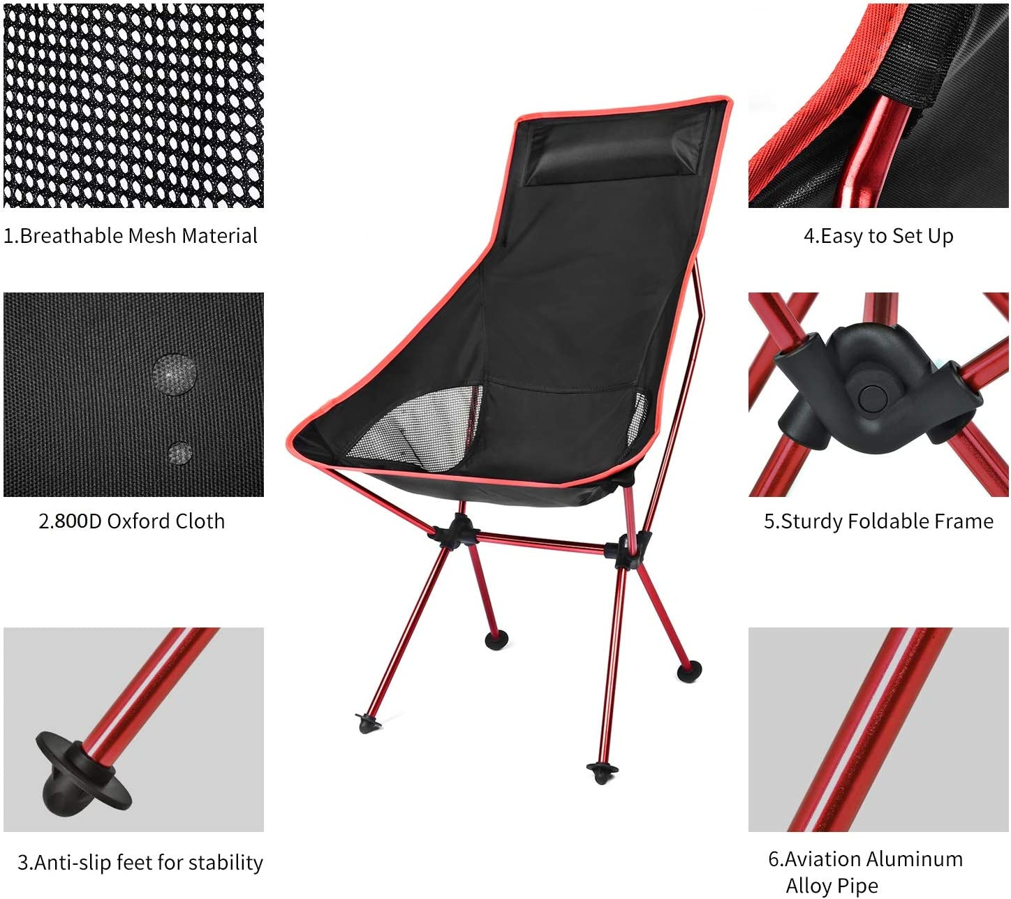 Dark Blue Hiking Lightweight Folding Camping Chair Fishing Camping Chairs for Outdoor Picnic BBQ Portable Camp Chair with Headrest and Carry Bag