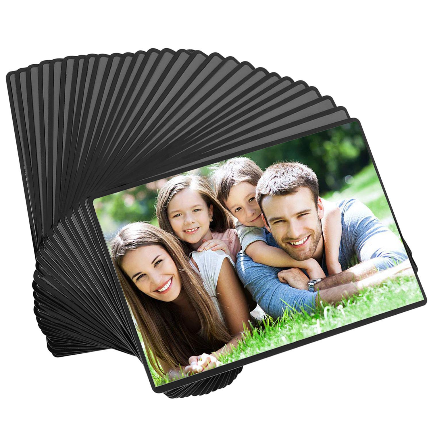 Magicfly Magnetic Photo Frame, Pack of 30, Fits 4 X 6 Inch Photos, Magnetic Picture Frame with Clear Photo Pocket for Refrigerator, Fridge, Office Cabinet, Black by Magicfly