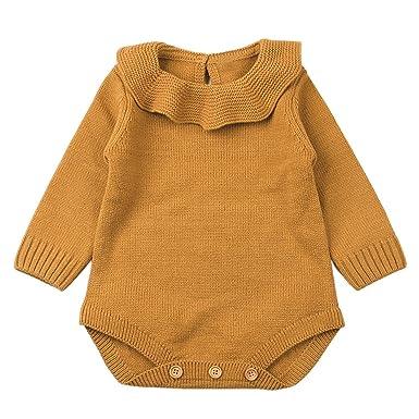 YanHoo Ropa de niños Mameluco de Punto de bebé de Manga Larga con Cuello Redondo de muñeca Bebé recién Nacido bebé niño niña Armadura del Mameluco de Punto ...