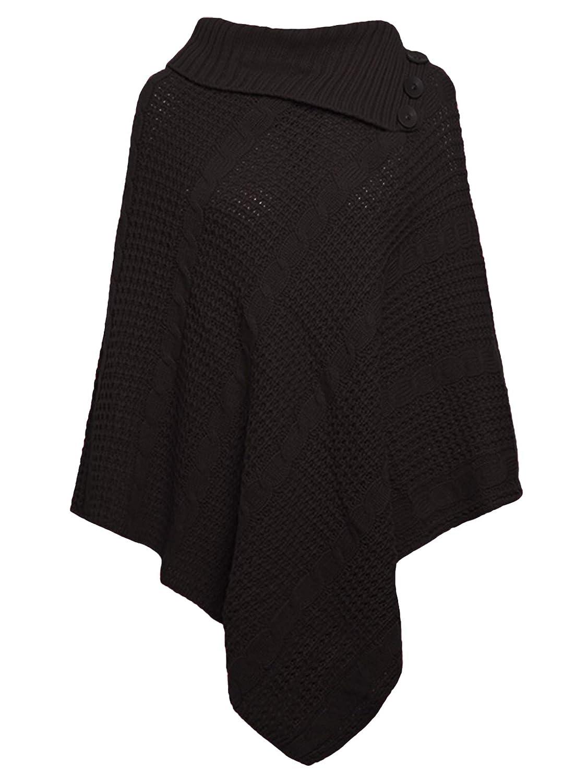 Higland Fashion Frauen 3-Button-Polo-Neck-Kabel Strickschal Winter Cape Schal Cardigan Poncho