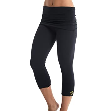 9cea3efa27c74 HotPants Women s Fold Over Workout Capri Leggings - Black