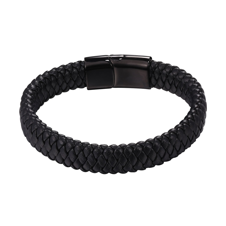 U7 Braided Leather Bracelet for Men Women Bangle Bracelets Fashion Magnetic Clasp, 21CM (8.3 Inch) (Style A: Black)