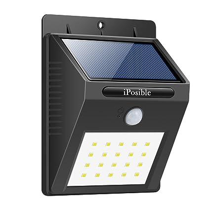 iPosible Luz Solar Exterior, 20 LED Luces Solares Impermeable Lámpara Solar de Pared Luces de Exterior Foco Solar con Sensor de Movimiento para ...