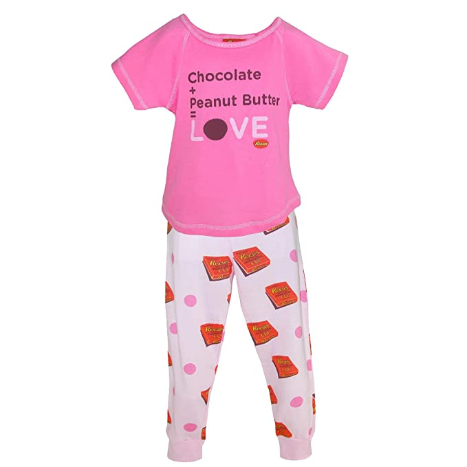 Reeses Girls Peanut Butter and Chocolate Pajama Set, Small, Dark Pink