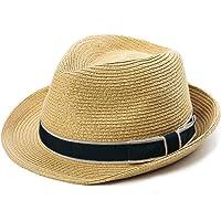 SIGGI Panama Straw Summer Fedora Sun Hat Beach Trilby Short Brim Vintage for Men 56-59cm