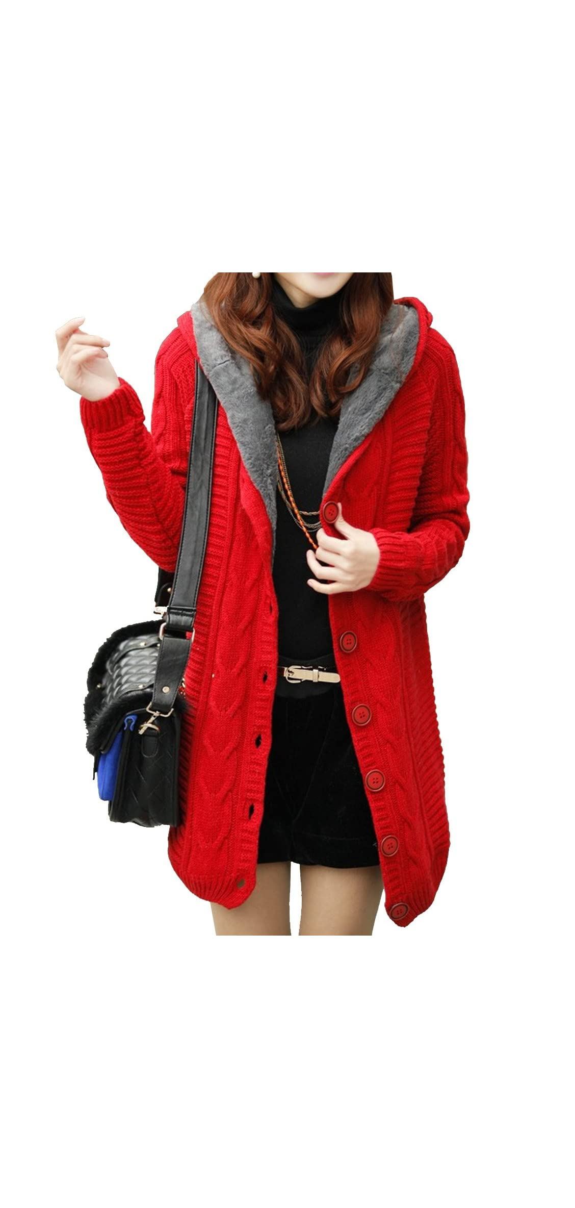 Women's Thick Warm Solid Cable Sweater Faux Fur Lined
