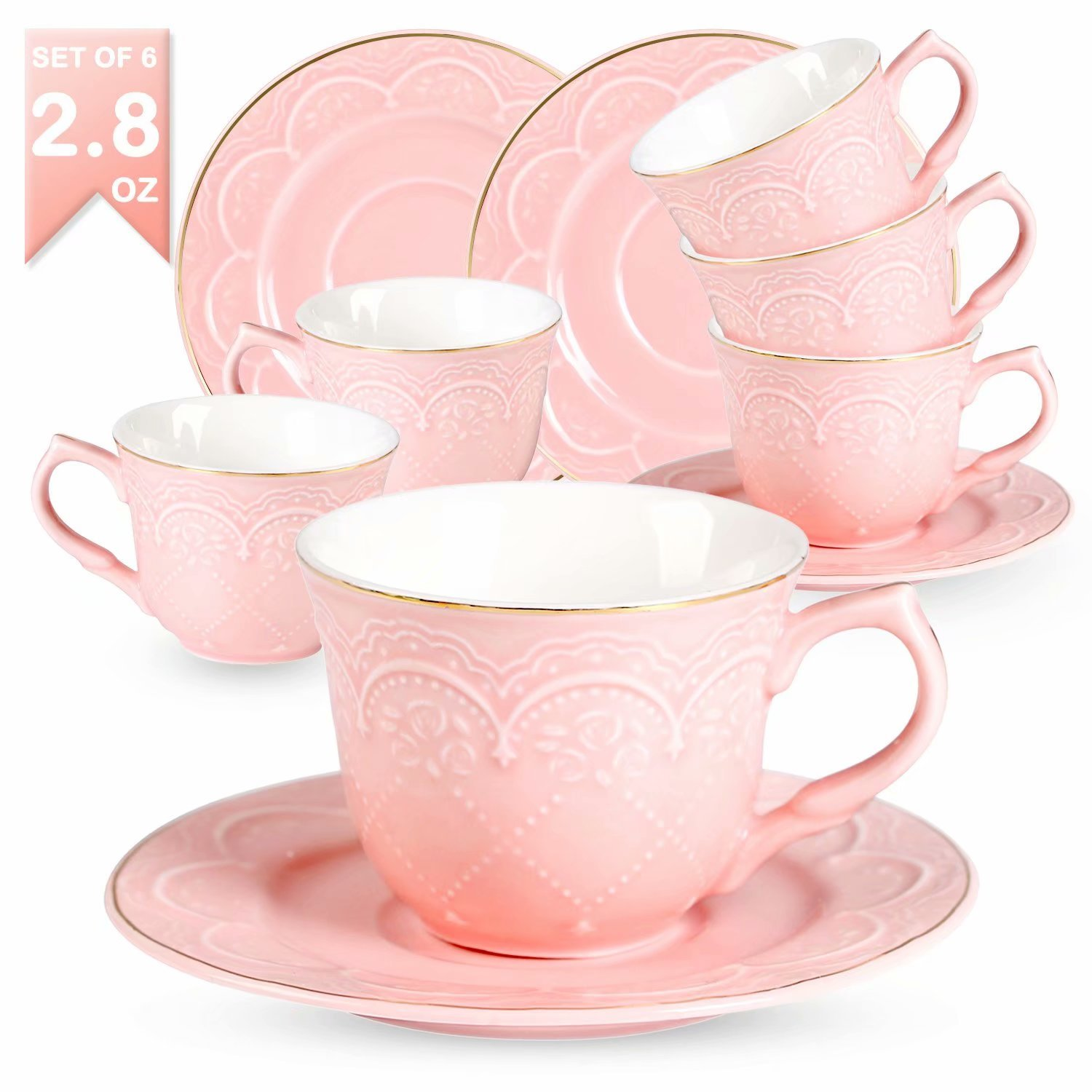 Guangyang Tea Cups 2.8-OZ with Saucers in Lovely Pink Porcelain as Great Gifts Perfect Choice for Tea Party Cup Set for Mocha Tea Coffee Cappuccino Espresso Set of 6 Coffee Cup Set