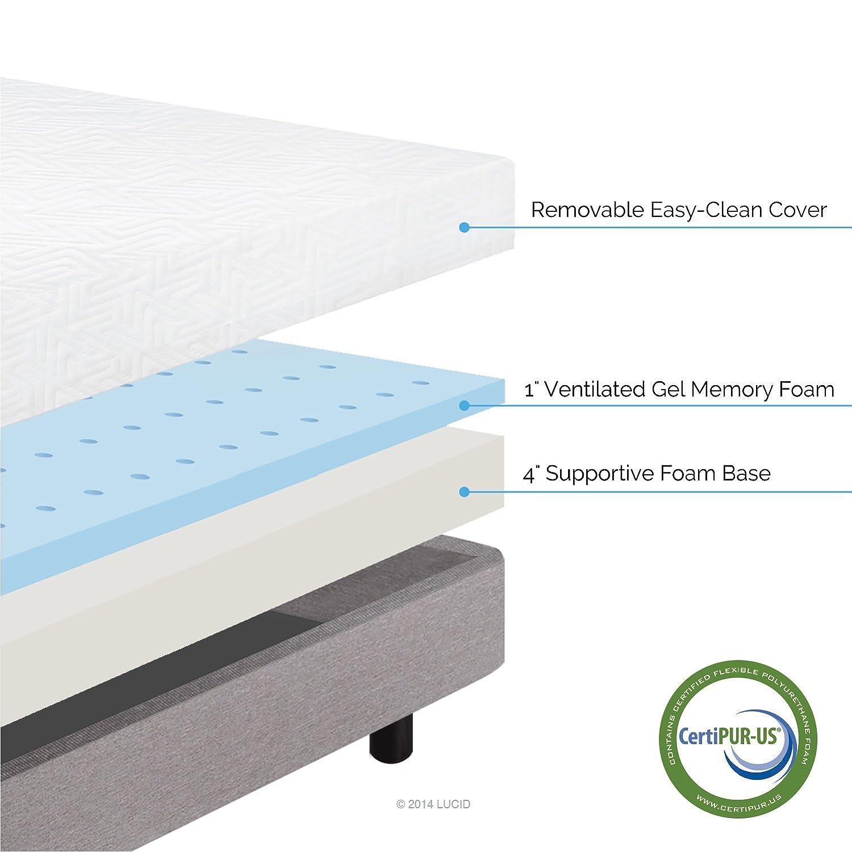 5 inch memory foam mattress Amazon.com: LUCID 5 Inch Gel Memory Foam Mattress   Dual Layered  5 inch memory foam mattress