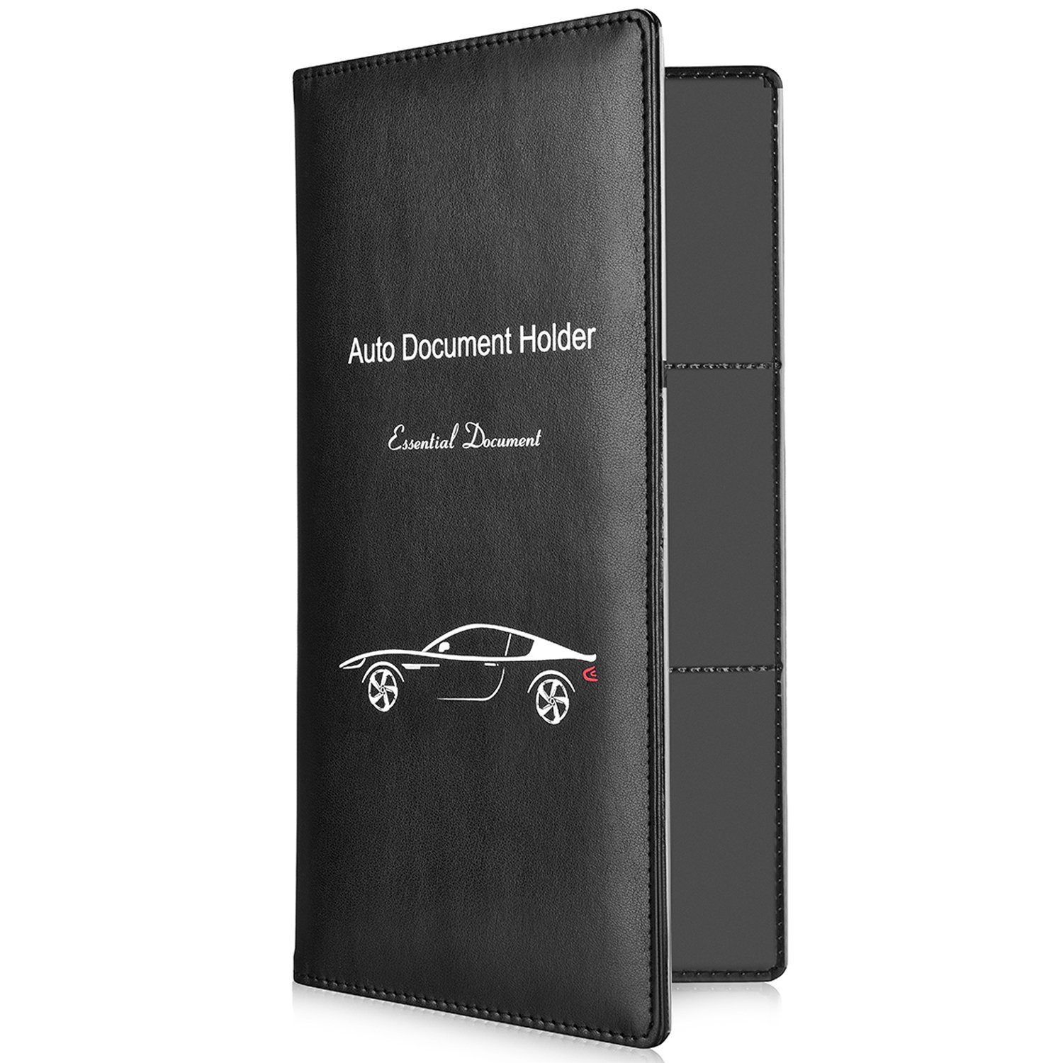 BASENOR Car Insurance and Registration Holder Black Leather Magnetic/Water Resistant Auto Document Wallet