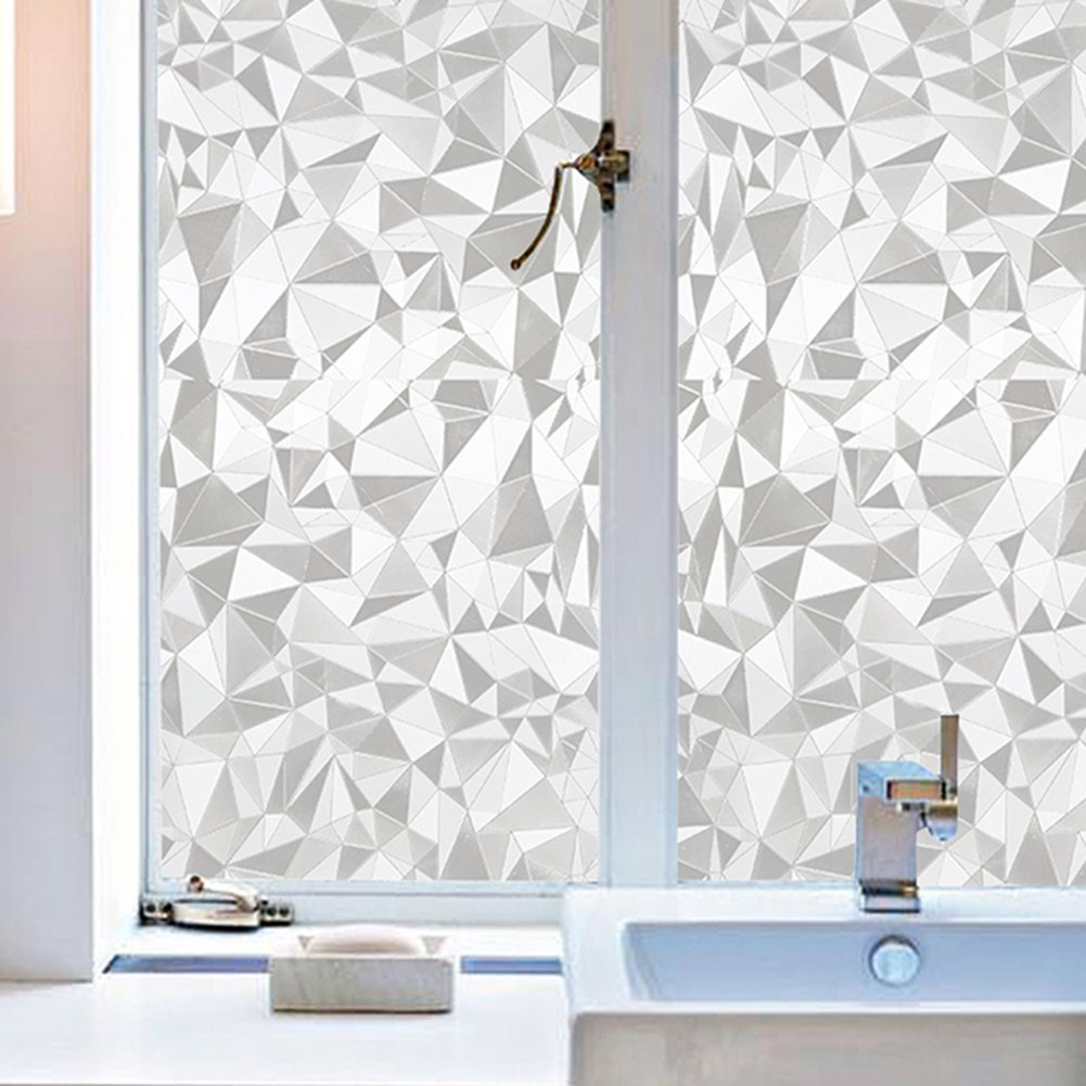 Amposei Fashion Light Refraction Frosted Window Glass Film Privacy for Bedroom Door 17.7 by 78.7 inches