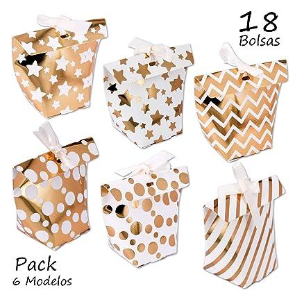 Starplast Pack 6 Paquetes Cajas para Regalo, Oro y Blanco ...