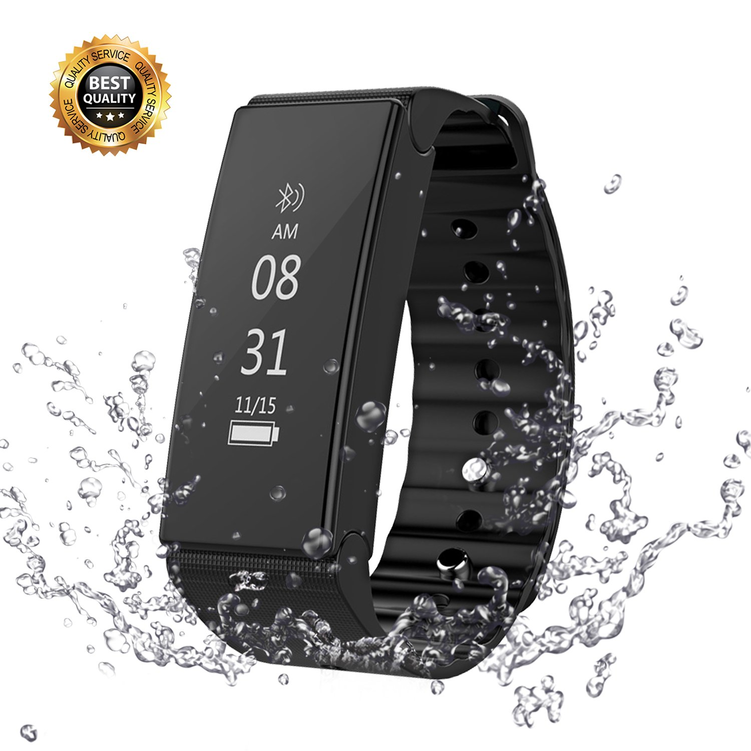 Vafru Fitness Tracker, Waterproof Activity Tracker with Smart Bluetooth Bracelet, Sleep Monitor Pedometer Wristband for iOS and Android (Black)