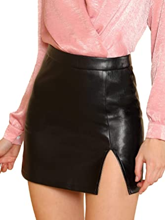 e89e17163 Floerns Women's Sexy Split Faux Leather Bodycon Mini Skirt at Amazon  Women's Clothing store: