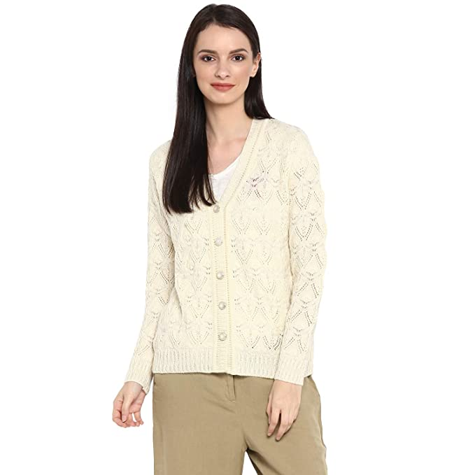 c19a106101 Monte Carlo Off White Wool Blend Solid Cardigan  Amazon.in  Clothing    Accessories