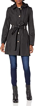 Calvin Klein Womens Button Front Trench Coat with Belt
