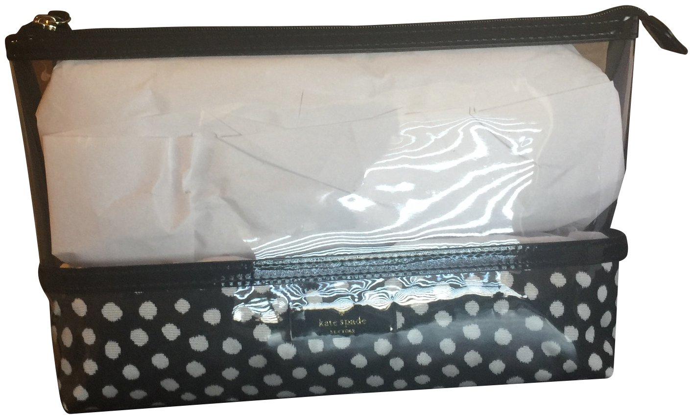 Kate Spade Catie Travel Cosmetic Case Bag Black White Polka Dots