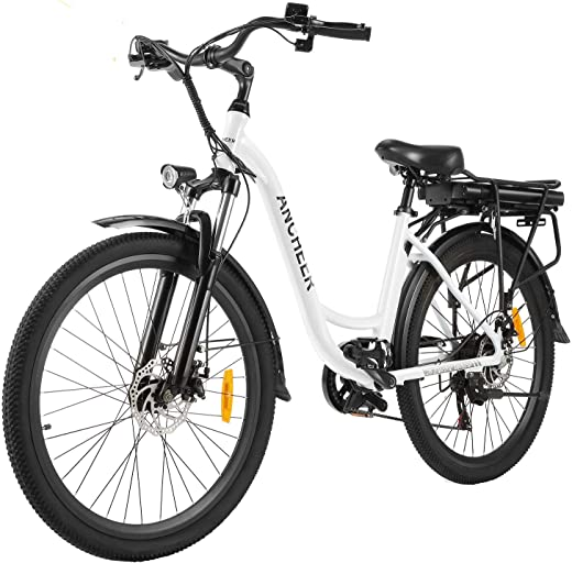"ANCHEER 26"" Electric City Bike, Removable 12.5Ah Lithium-ion Battery Pack Integrated with Frame, 35 Miles Range and Dual Disc Brakes Alloy Electric Bicycle"