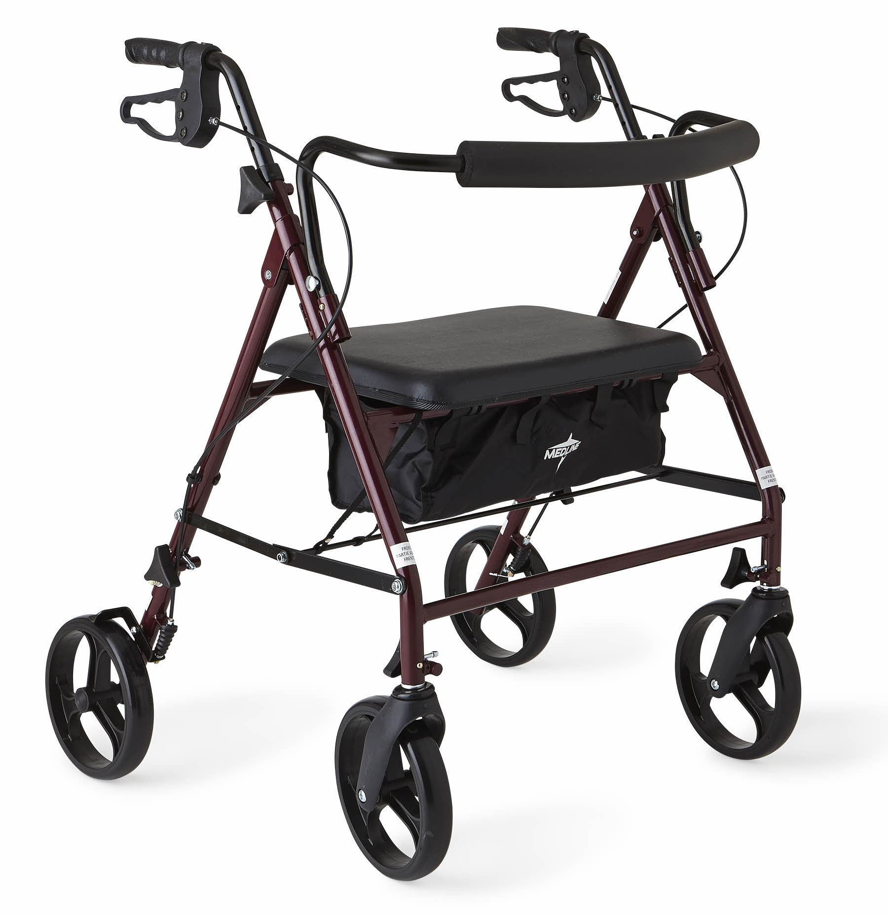 Medline Heavy Duty Rollator Walker with Seat, Bariatric Rolling Walker Supports up to 500 lbs, Large 8-inch Wheels, Burgundy by Medline