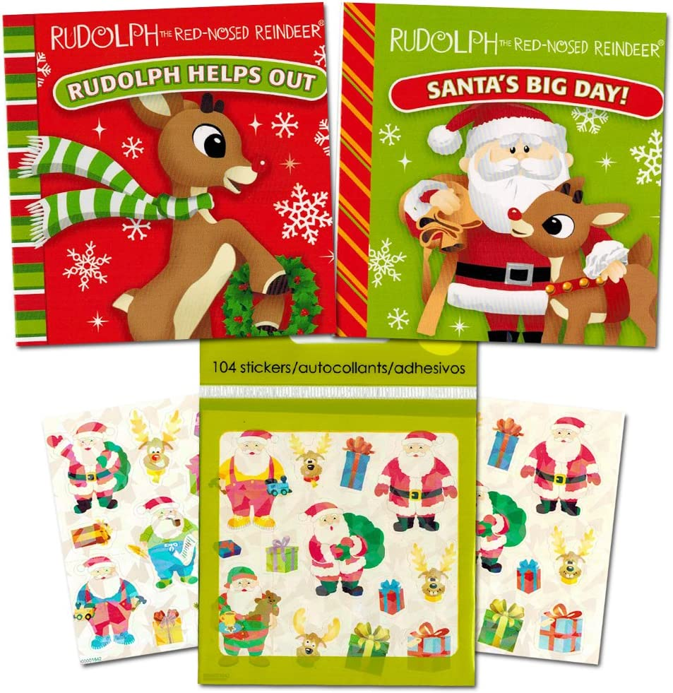 Christmas Board Books Sticker Set Kids Toddlers (Set of 2 Holiday Board Books Featuring Rudolph The Red-Nosed Reindeer Santa!)
