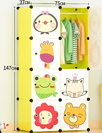 Portable Clothes Closet Wardrobe Cartoon Freestanding Storage Organizer With Doors 8 Cube