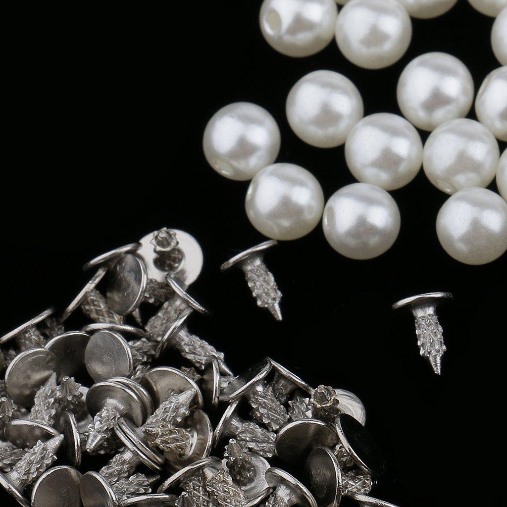 Flameer 100 Sets Screw Plastic Pearl Stud Leathercraft Rivets for DIY Dress Jeans Clothing Decor
