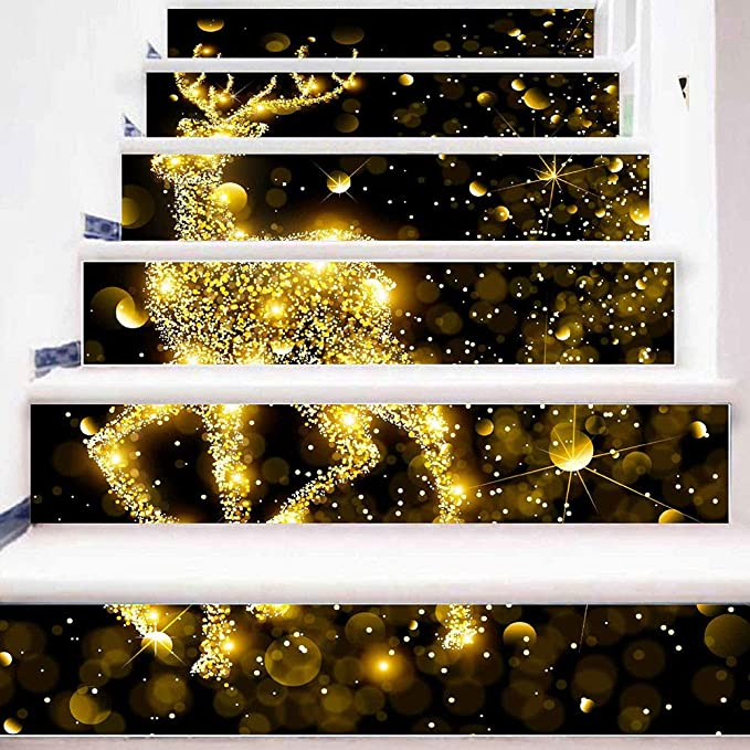 boluoyi christmas decorations clearance salechristmas 3d simulation stair stickers waterproof wall diy home decor