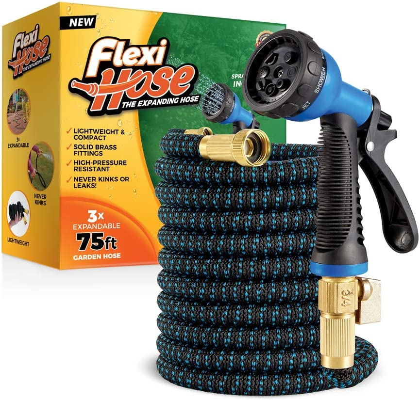 Flexi Hose with 8 Function Nozzle, 75 ft. Lightweight Expandable Garden Hose, No-Kink Flexibility, 3/4 Inch Solid Brass Fittings and Double Latex Core, Blue/Black