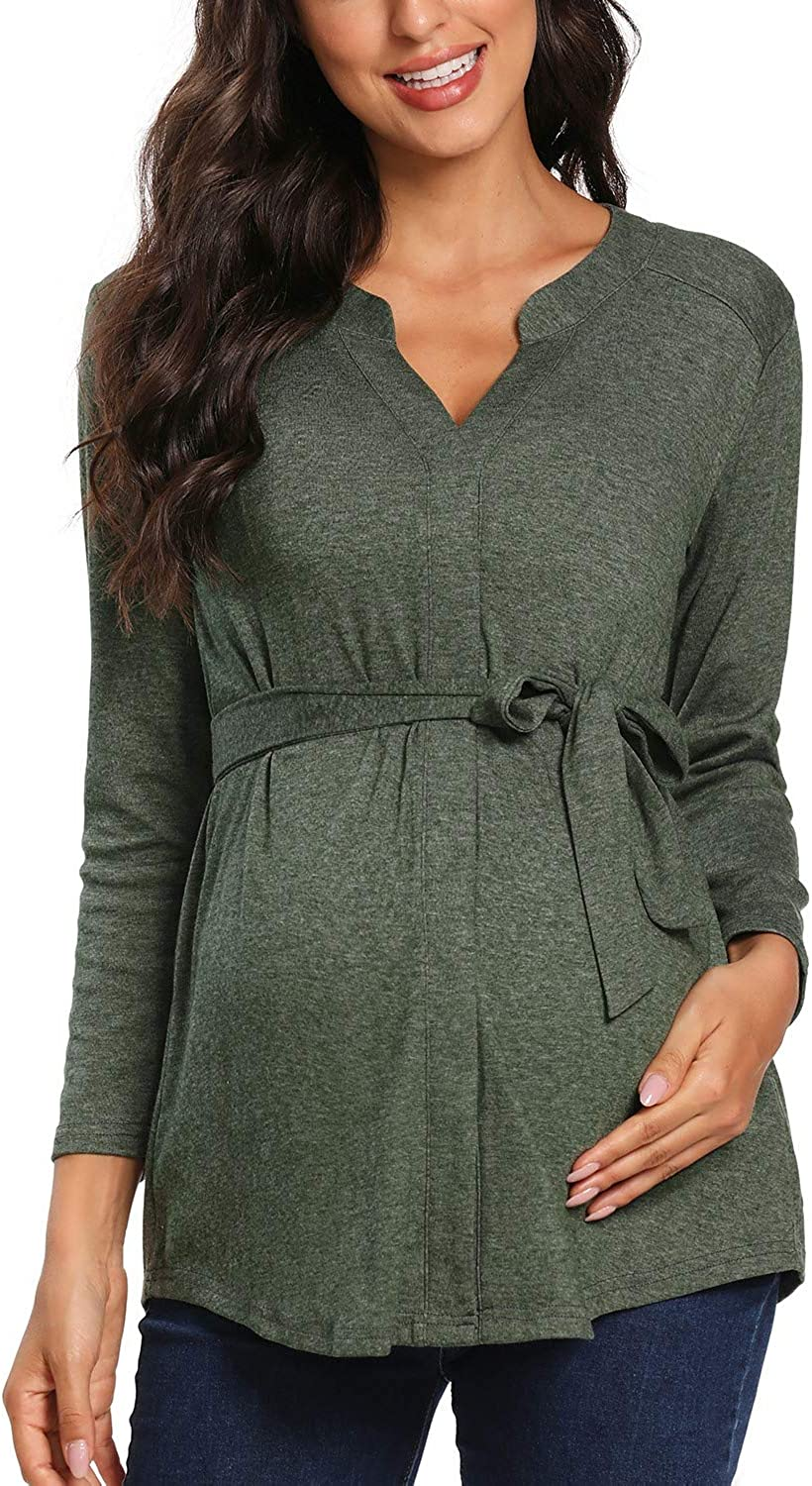 Glampunch Women/'s Maternity Tops V Neck Cap Sleeve/&Long Sleeve Tunic Tops Casual Pregnancy Blouse Shirts