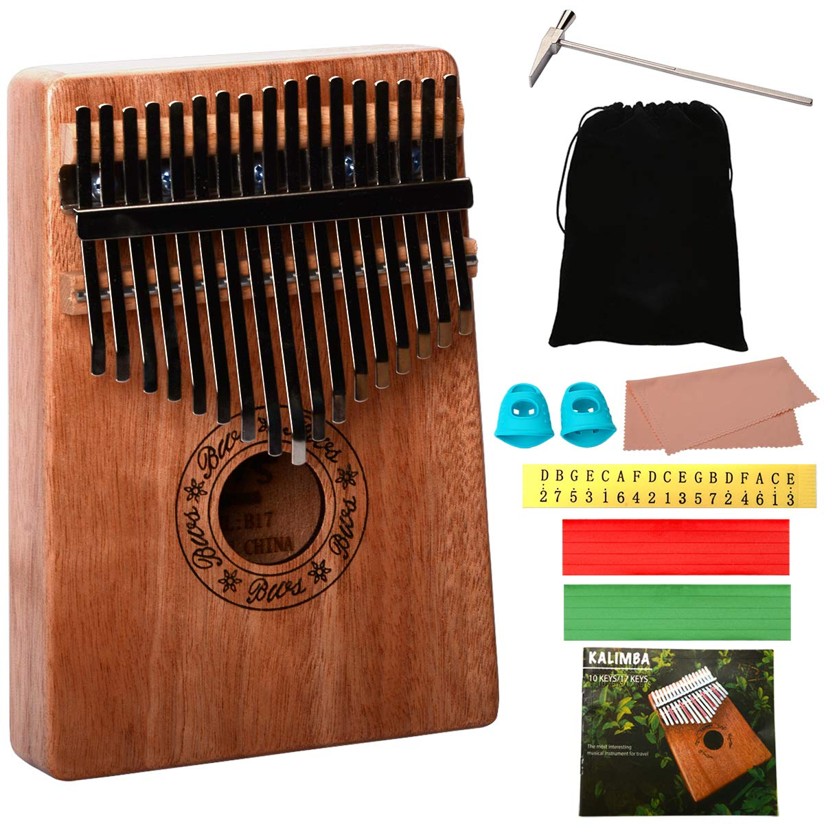Kalimba 17 Keys Thumb Piano, CJRSLRB Mahogany Wood Finger Piano with Tune Hammer, Storage Protective Bag, Scale Sound Sticker, Study Instruction, Mbira Likembe for Kids Adult Beginners (Wood)