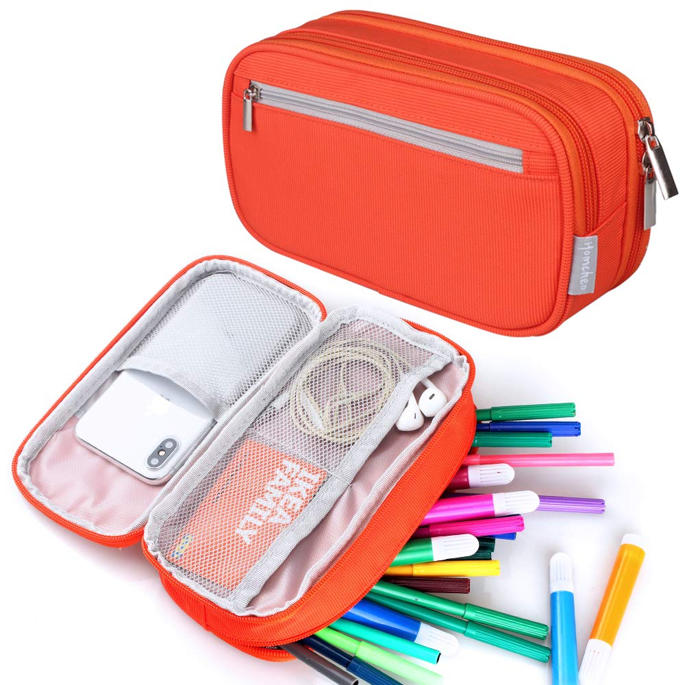 de79880360de Large Capacity Pencil Case, Travel Make Up Cosmetic Bag Pouch Pencil Pen  Bag Pouch Office Cable Bag with Multi Compartments for Women Girls School  ...