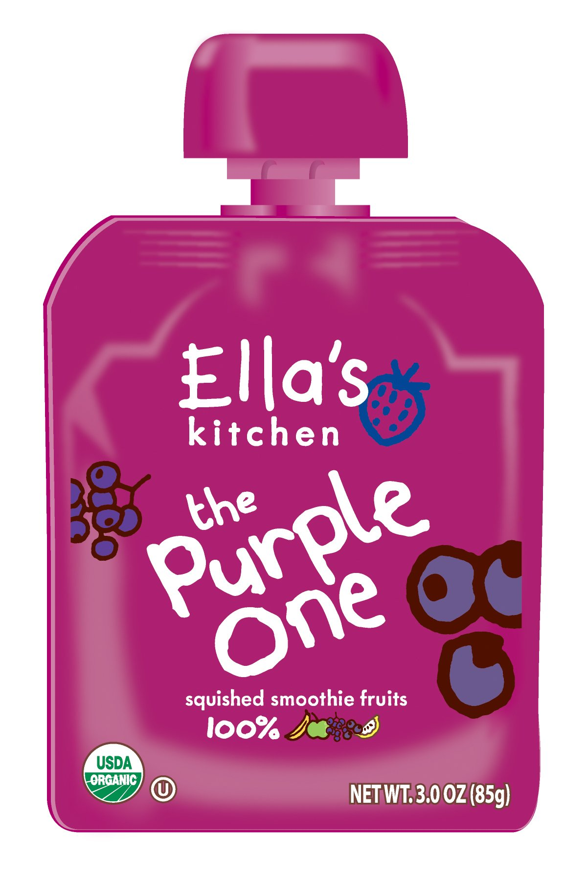Ella's Kitchen Organic Smoothie Fruits, The Purple One, 3 Ounce (Pack of 6)