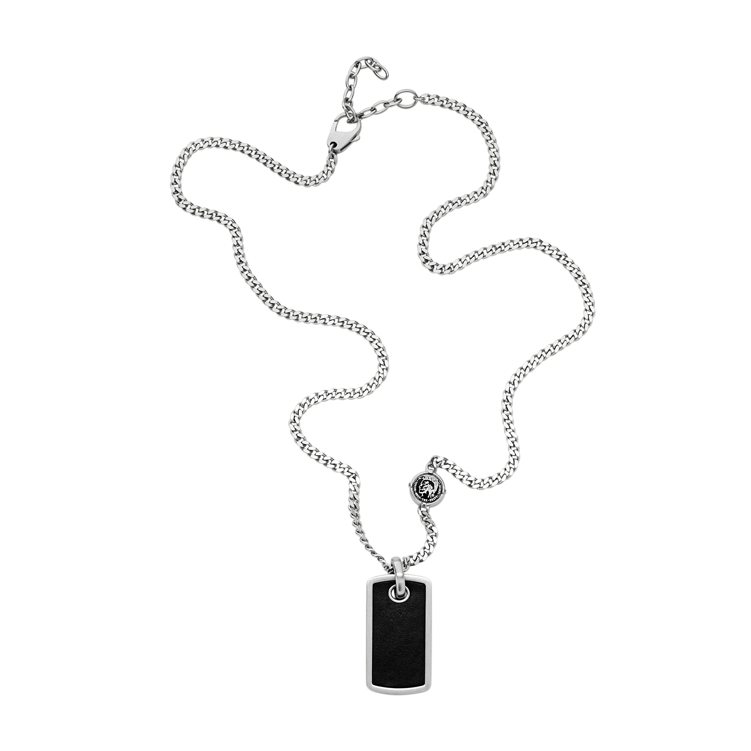 Diesel Men's Black Leather Tag Pendant Necklace