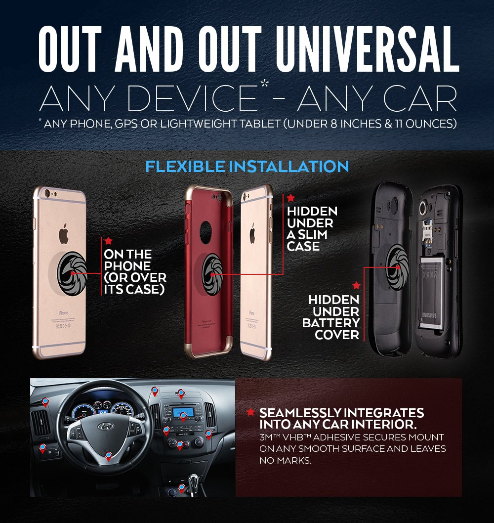 100 to Safeness /& Comfort CAW.CAR Accessories caw190716 CAW.CAR Universal Magnetic Car Mount for Any Phone GPS or Light Tablet Stylish Black Chrome One-Hand /& One-Sec Dash Holder