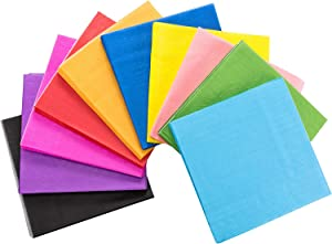 TecUnite 100 Pieces Cocktail Napkin Beverage Luncheon Paper Napkins Neon Napkins 2 Ply for Party Favors, 10 Colors