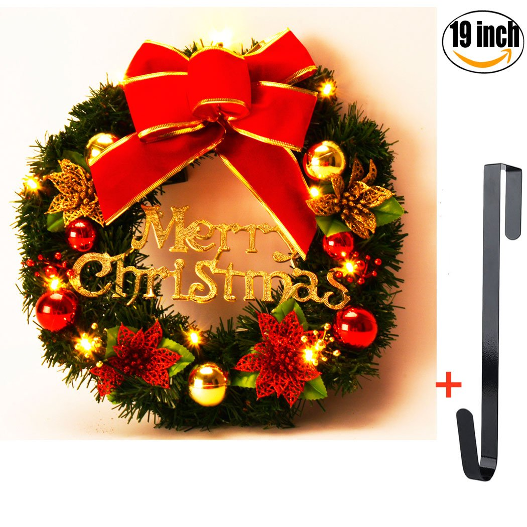 Funpa Christmas Wreath, 19 Inch with Lights with Hook Artificial Pine Rattan with Hook Door Garland with Bowknot Letters Flowers Ball Ornaments for Xmas Outdoor Party Decoration (19 in)