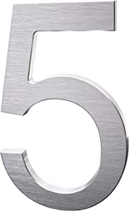 8 Inch Modern House Numbers- Premium Aluminum Floating Home Address Number withElegant & Sophisticated Brushed Finish, Silver, Number 5
