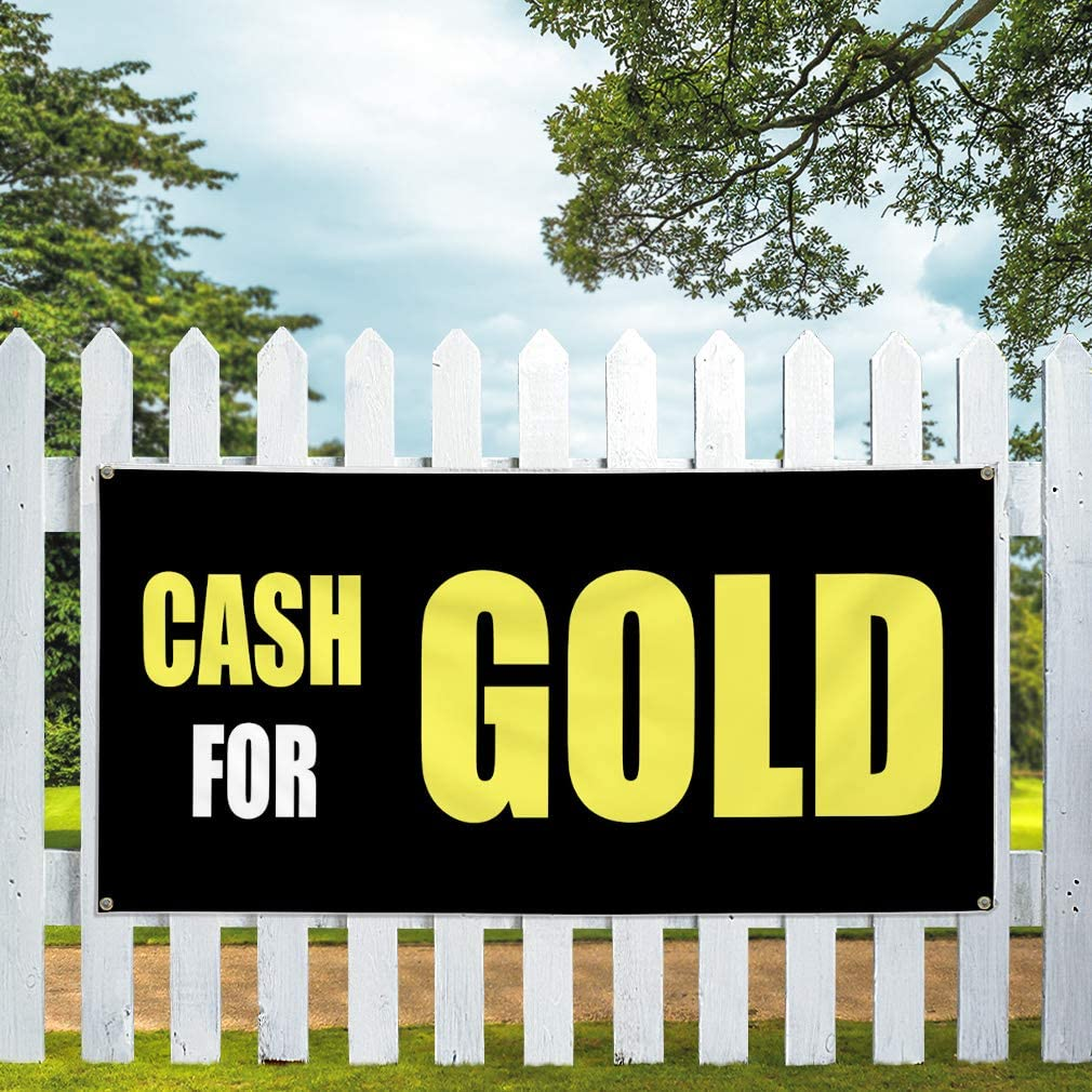 Set of 3 Multiple Sizes Available 4 Grommets 24inx60in Vinyl Banner Sign Cash for Gold Black Business Cash Outdoor Marketing Advertising Black