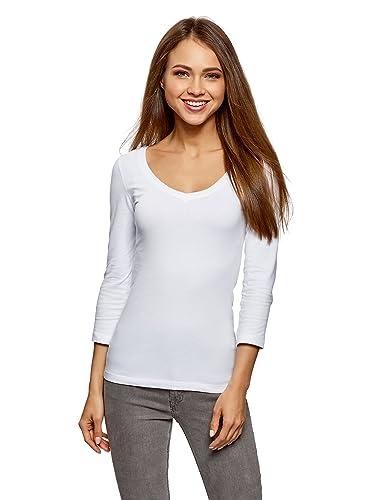 oodji Collection Mujer Camiseta con Cuello Pico sin Etiqueta (Pack de 3)