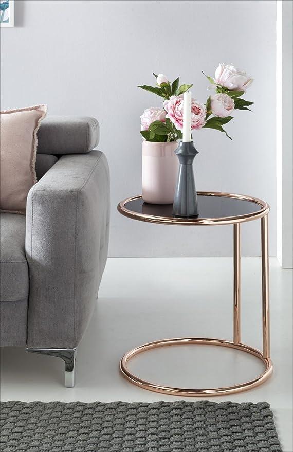 Home Collection24 Diseño – Mesa Auxiliar, Metal y Vidrio Diámetro ...