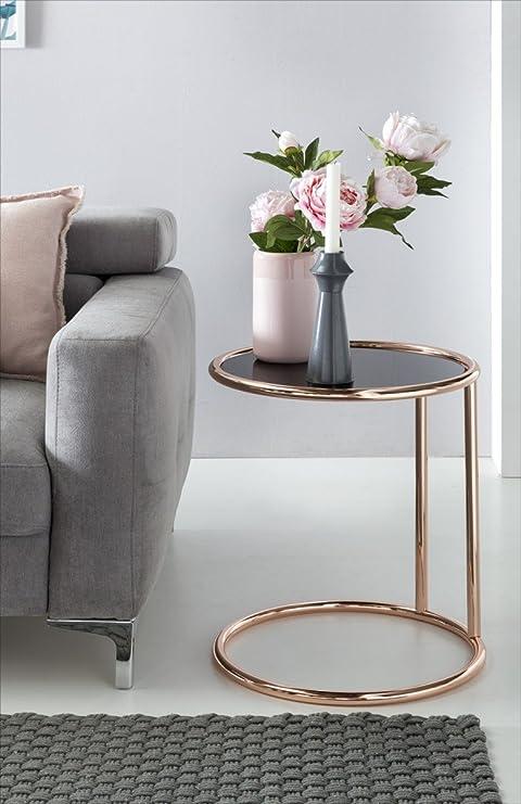Design Tavolino in metallo e vetro Ø 45 cm NERO/RAME | soggiorno ...