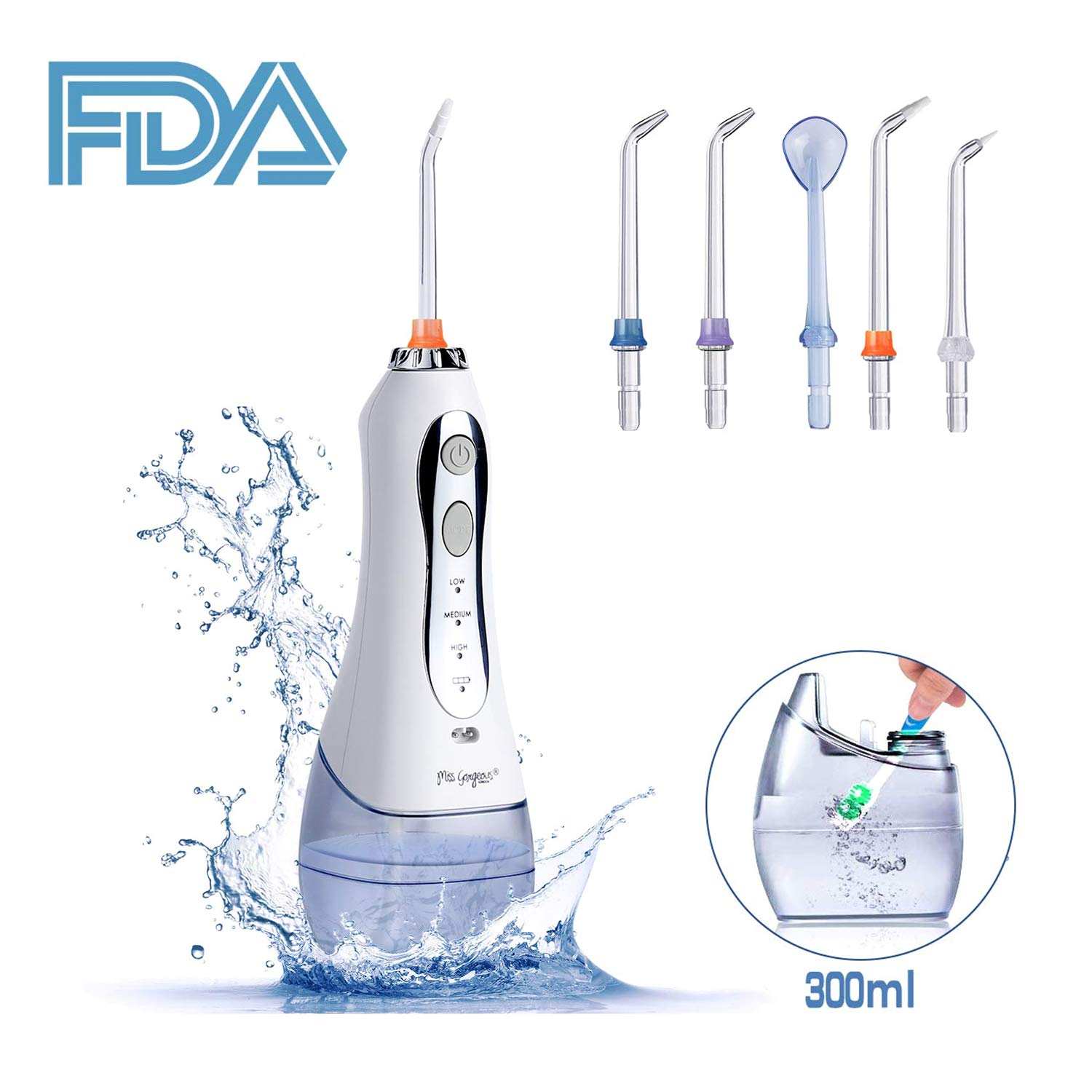 Cordless Water Flosser Teeth Cleaner - Miss Gorgeous Professional Dental Oral Irrigator with 300ml Water Tank Portable and Rechargeable IPX7 Waterproof 3 Mode USB Rechargable with 5 Jet Nozzles