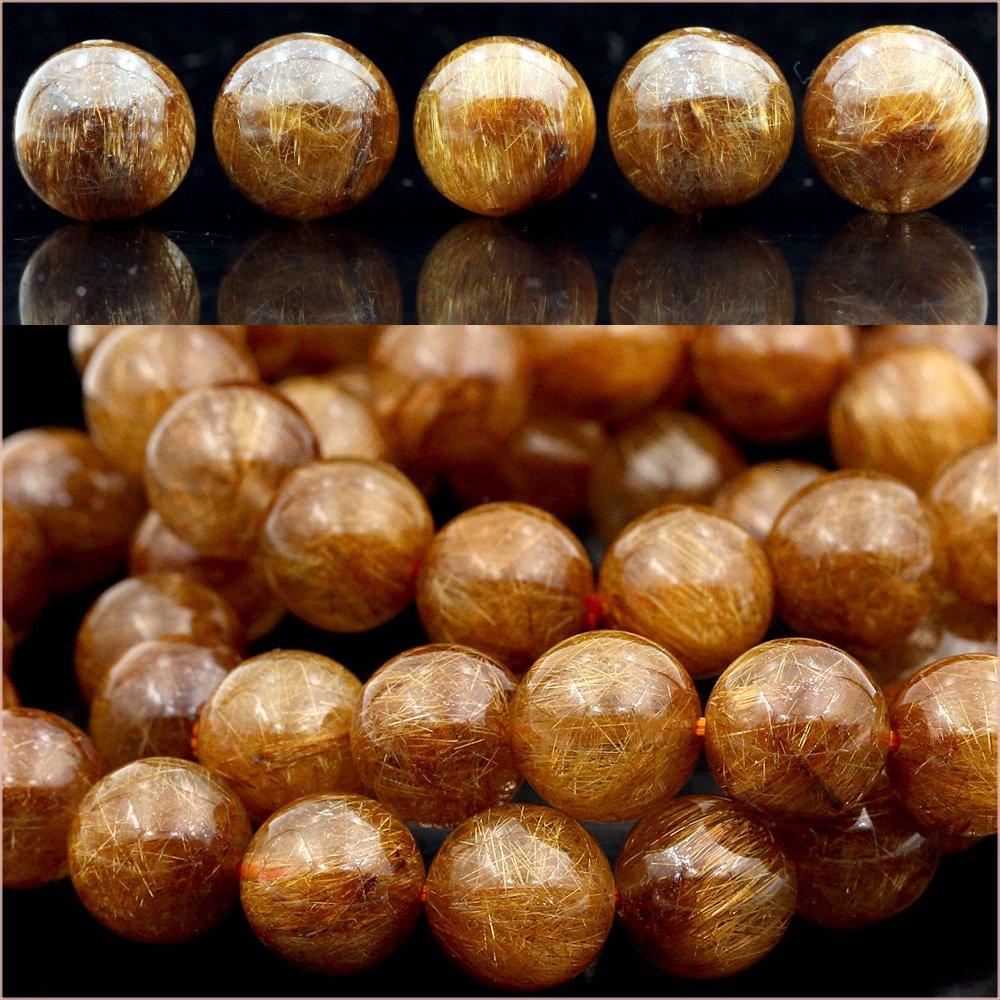 t505 【1粒売り】<AAAAA級 レッドゴールドルチル(赤金針水晶)>丸ビーズ 11mm 10060354   B06XRTTBT5