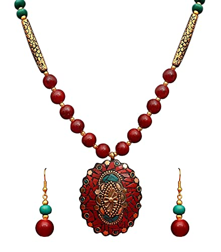 b2d520c2de Buy Sitashi Ethnic Wear Rajasthani Hand Work and Beads Fashion Jewellery  Floral Design Pendant Necklace for Women Online at Low Prices in India
