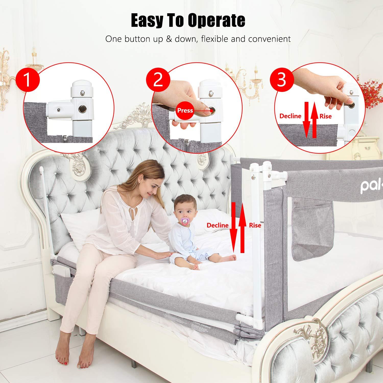 Barras de cama para ni/ños para ni/ños y beb/és Pakey extra largas y altas para cama de beb/é protecci/ón para cantar, tama/ño peque/ño, doble, king y super king