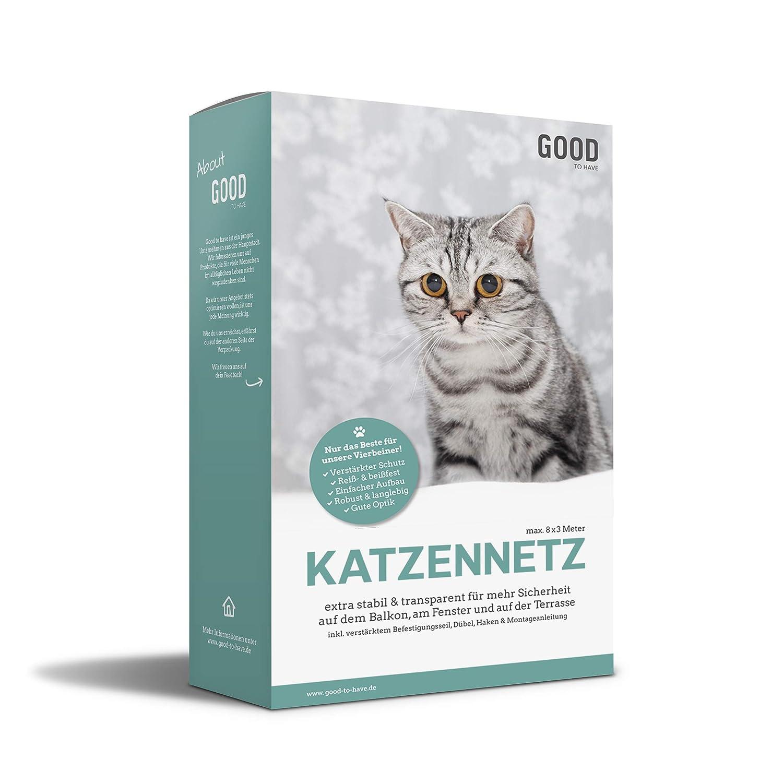 Good-to-have Katzennetz 8x3m für Balkon und Fenster | Transparentes Balkonnetz | Extra stabiles Befestigungsmaterial | Schutznetz mit Anleitung