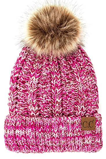 20a72399933 ScarvesMe Exclusive CC Knitted Hat with Fuzzy Lining with Pom Pom (3 Tone 1)