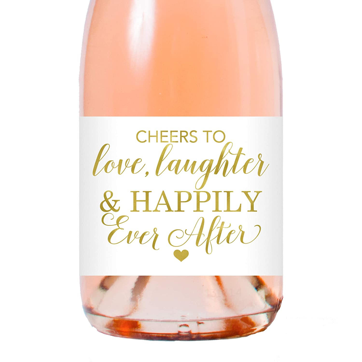 Gold Foil Wedding Champagne Labels Cheers to Love Laughter and Happily Ever After Champagne Bottle Labels Set of 24 Labels by Chicfetti Wedding Mini Champagne Mini Wine Bottle Labels