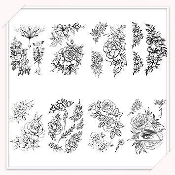 CARGEN® 8 hojas Black Rose tatuajes temporales impermeable hoja ...