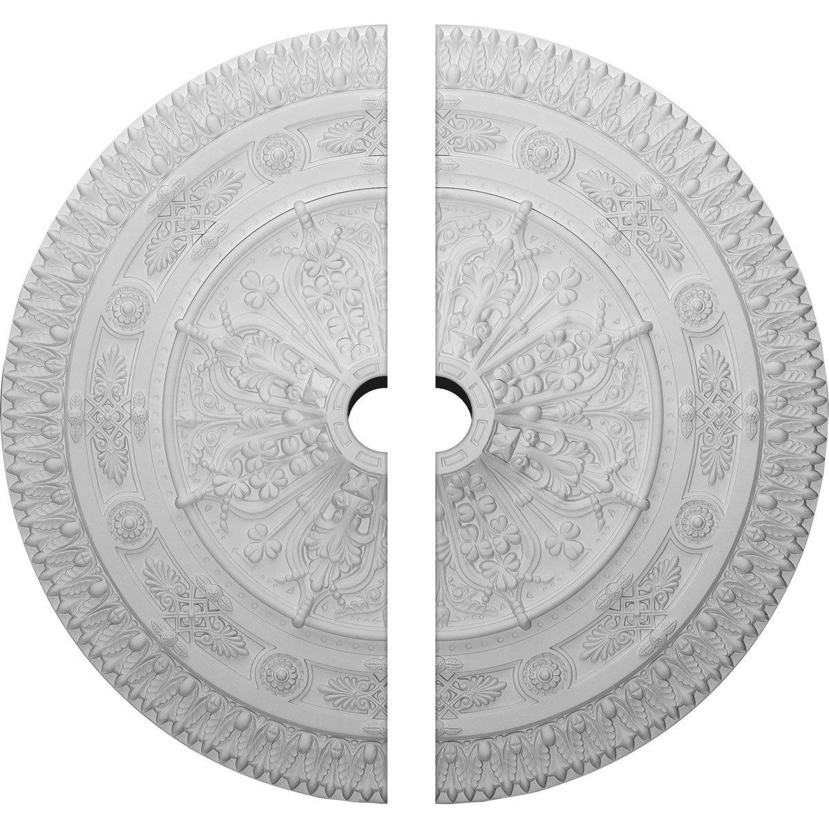 Ekena Millwork CM37NA2-05000 37 1/2''OD x 5''ID x 3 3/8''P Naple Ceiling Medallion, Fits Canopies up to 3-1/2'', 2 Piece